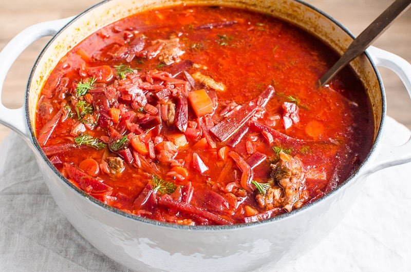 borscht in the pot with ladle