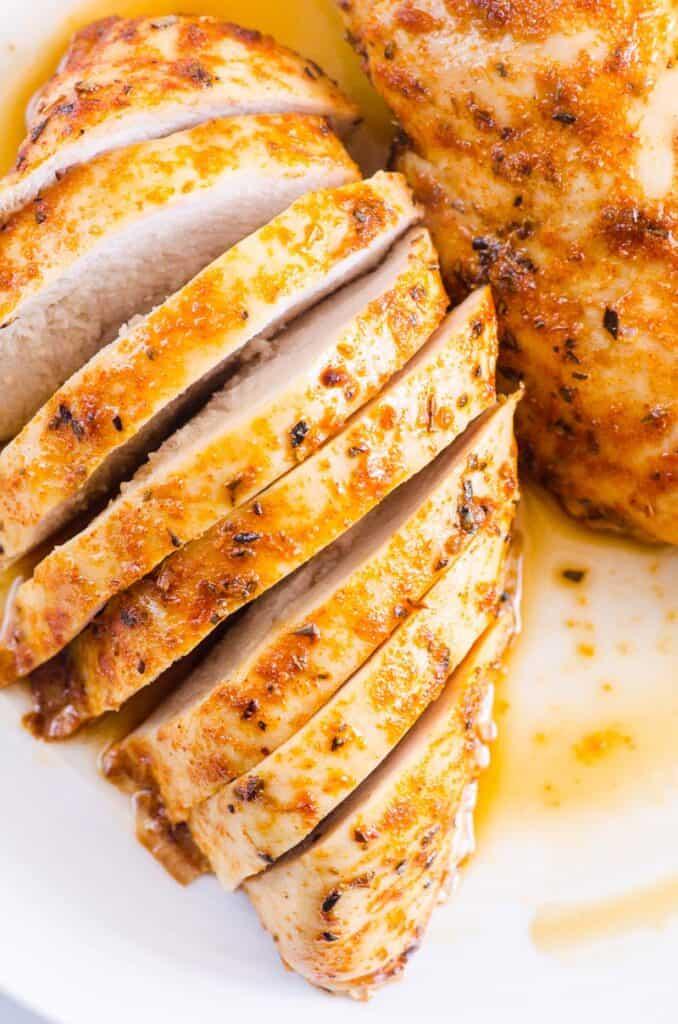 sliced baked chicken breast