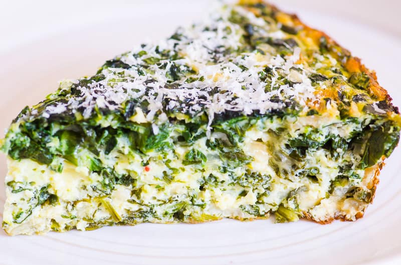 Crustless Spinach Quiche slice on a plate