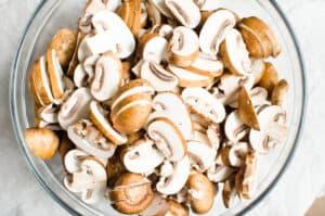 glass bowl of mushrooms