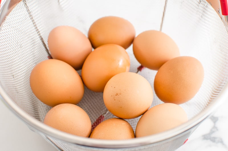instant pot eggs cooked in a steamer basket