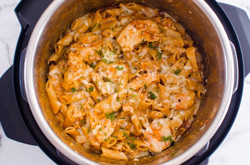 Instant Pot Parmesan Chicken Pasta in a pot