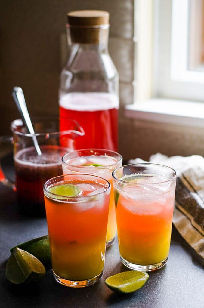 flavored kombucha in glasses and bottle