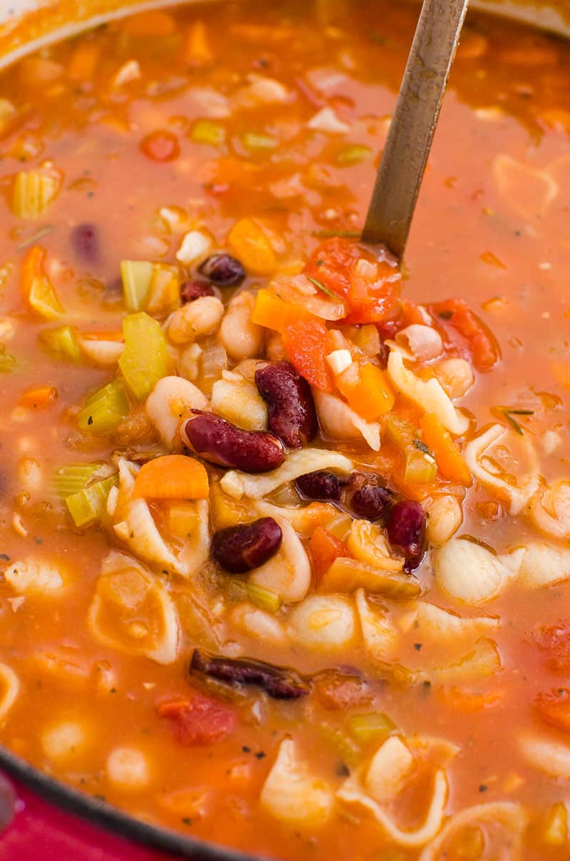 Pasta e Fagioli Soup ladled