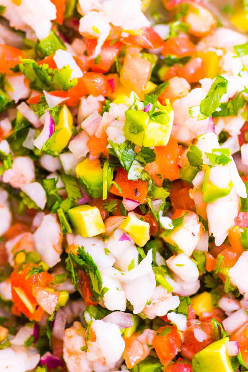 easy shrimp ceviche with cooked or raw shrimp