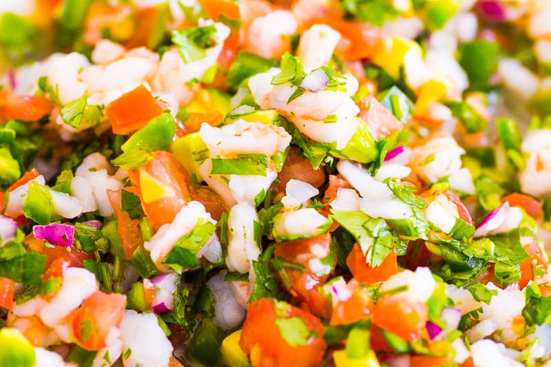 closeup of shrimp ceviche recipe