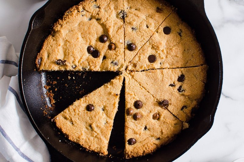 sliced skillet cookie in skillet