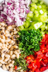 chopped white beans, parsley, bell pepper, red onion, celery
