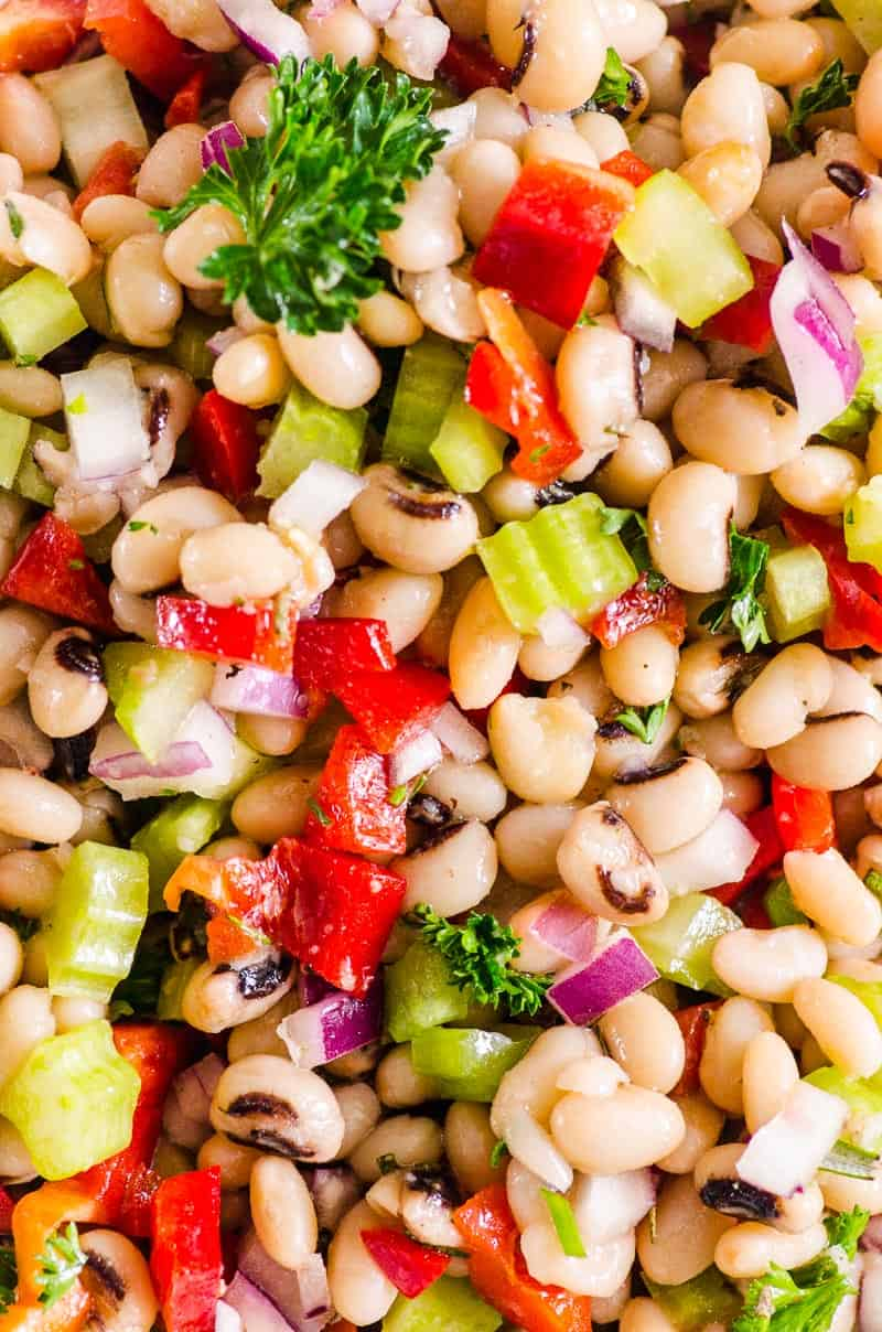 White Bean Salad garnished with parsley
