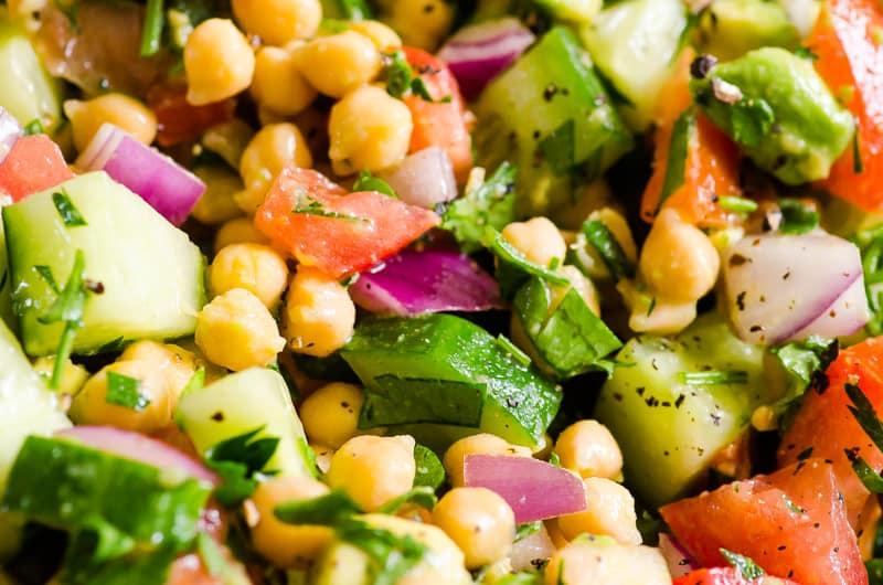 Chickpea avocado Salad closeup