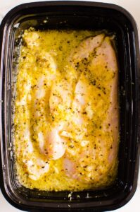 Lemon Chicken Marinade in black container