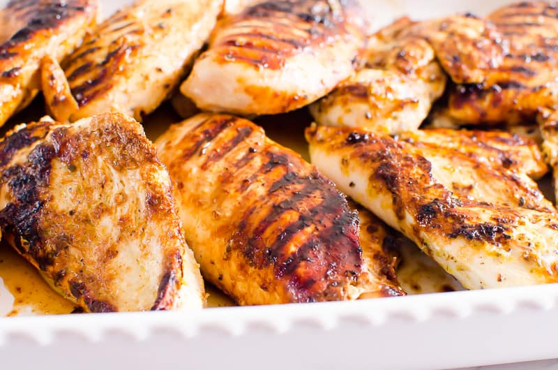 a ple of juicy grilled chicken breasts