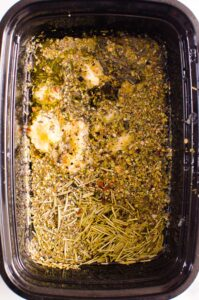 Greek Chicken Marinade in black container
