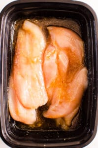 Teriyaki Chicken Marinade in black container