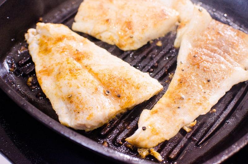 seasoned fresh cod on the grill