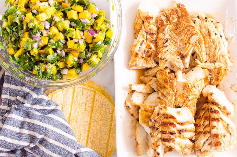 grilled cod, mango salsa, corn tortillas and towel