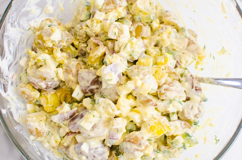 Healthy Potato Salad recipe in a bowl