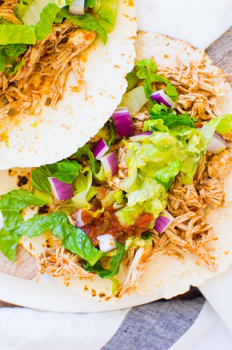 Instant Pot Shredded Chicken Tacos on a serving board