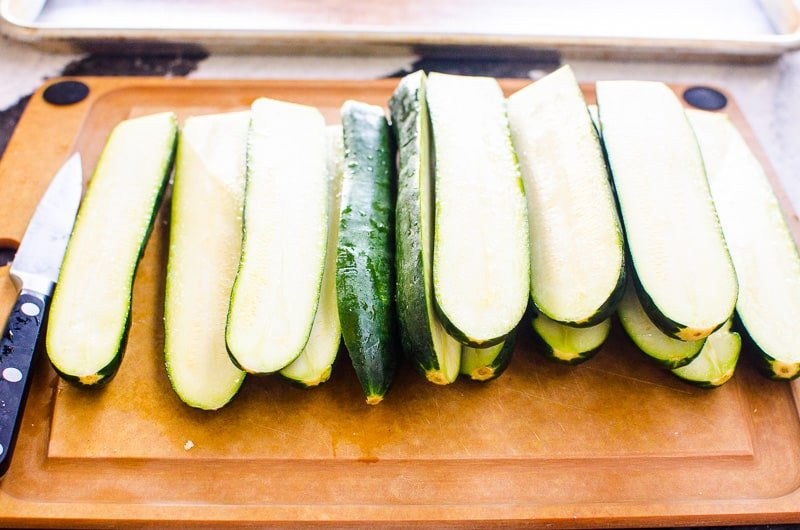 sliced zucchini on a cutting board