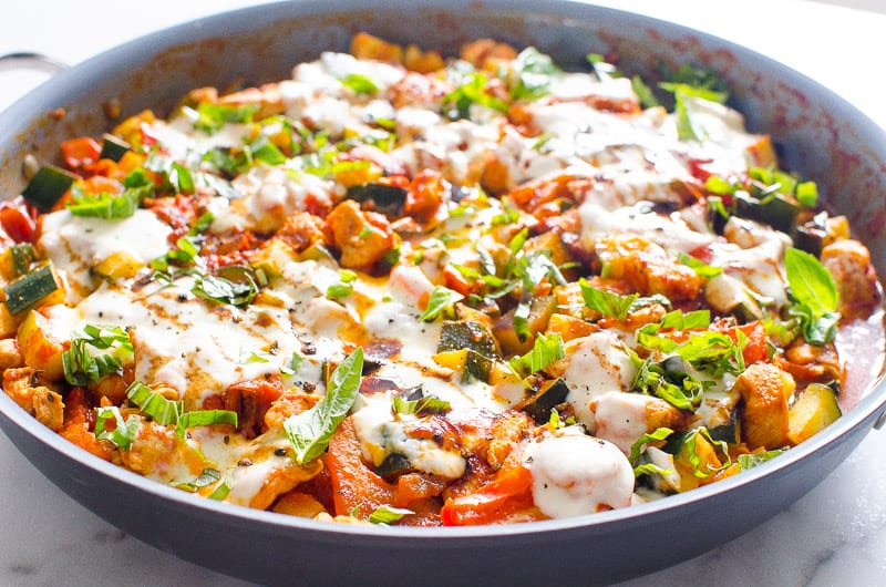 Caprese Chicken and Zucchini in a large skillet