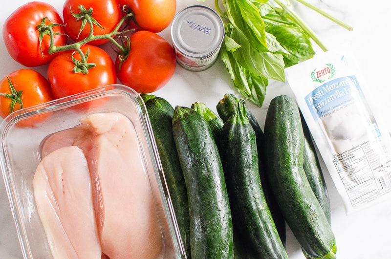 chicken, zucchini, tomatoes, mozzarella cheese, basil, tomato paste