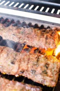 Carne Asada steak on the grill