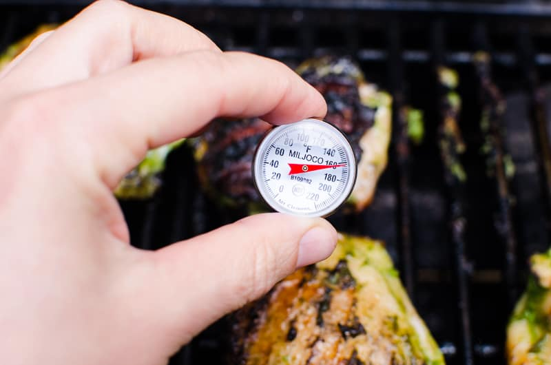 thermometer inserted in Grilled Chicken Thighs showing 165 degrees F