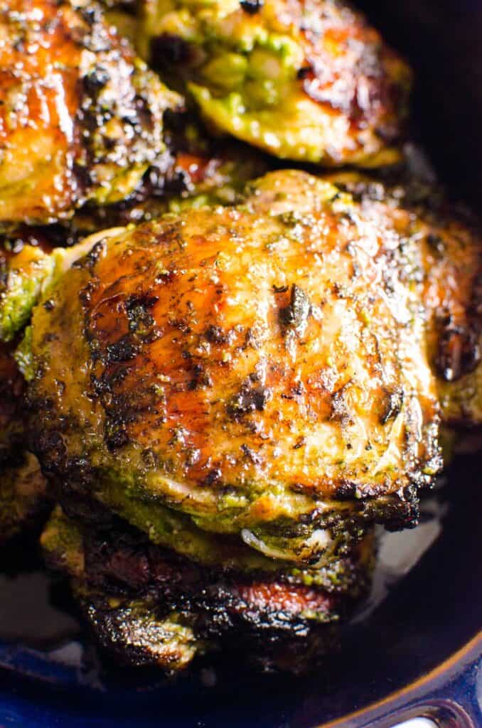 grilled chicken thighs recipe in serving dish