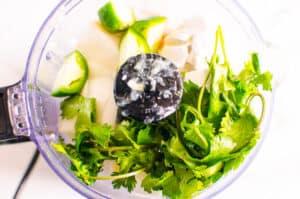 cilantro, onion jalapeno in a food processor