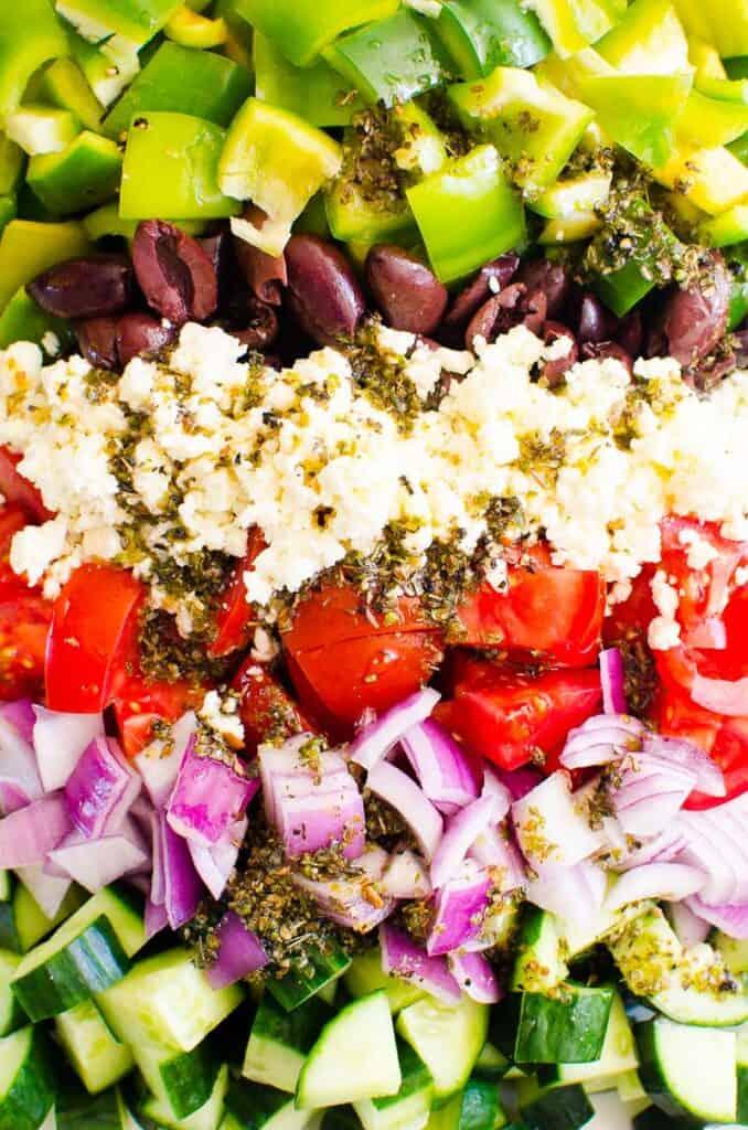 greek salad chopped vegetables