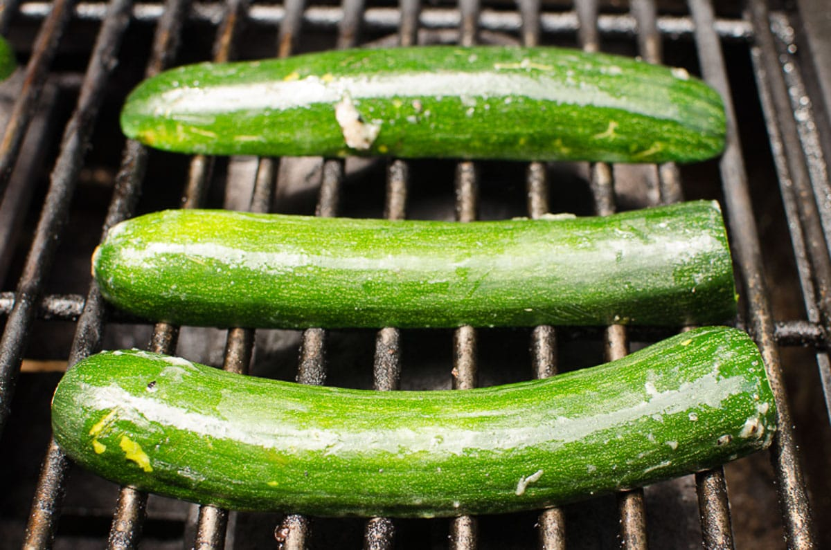 3 zucchini slices on the grill