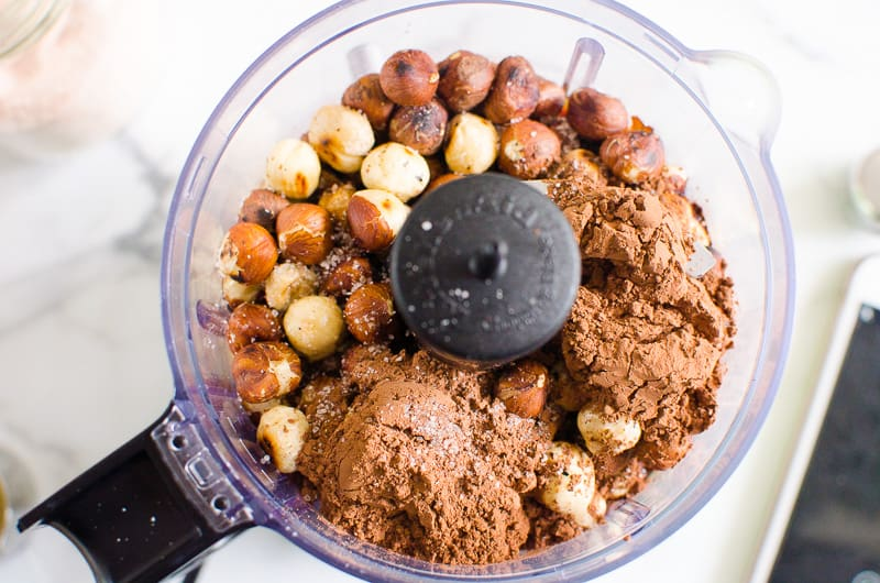 nuts, cacao powder, maple syrup in food processor