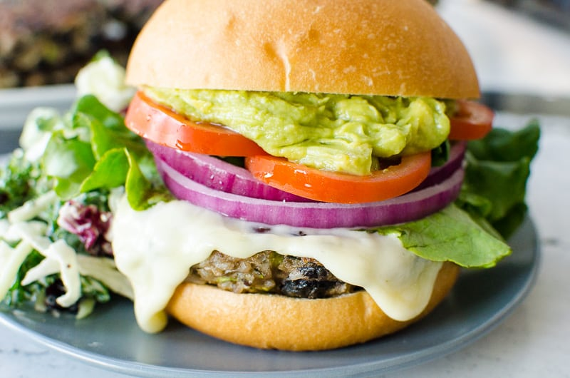 Black Bean Burgers served with slaw on a plate