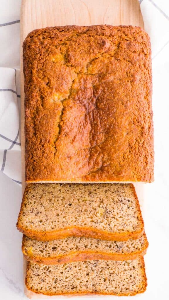 gluten free almond bread with bananas sliced