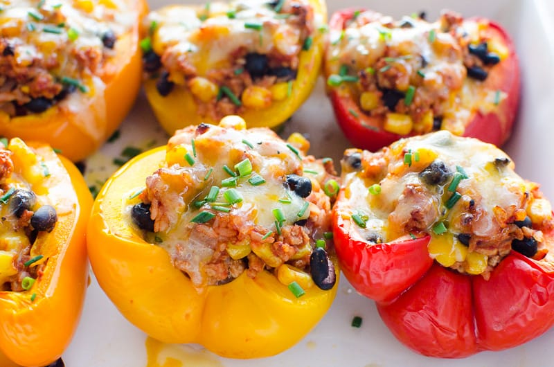 Mexican Stuffed Peppers in white baking dish