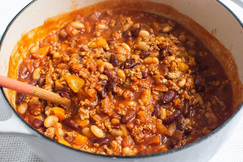 Dutch oven turkey chili