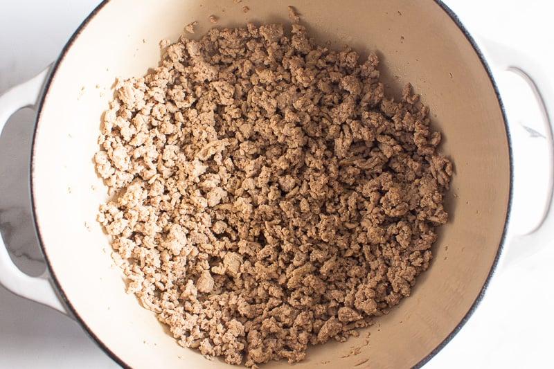 sauteed ground turkey in white pot