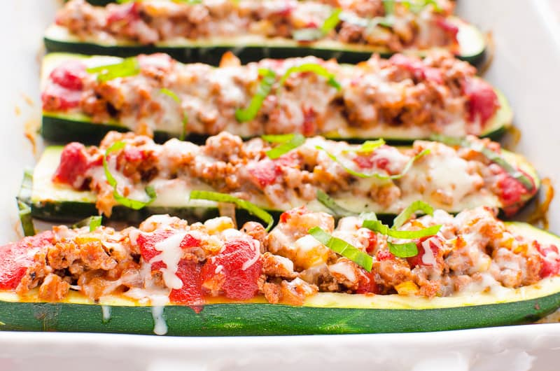 Zucchini Boats baked in white dish