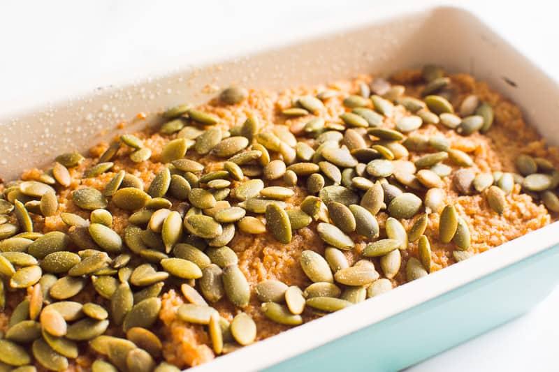 Almond Flour Pumpkin Bread in loaf pan