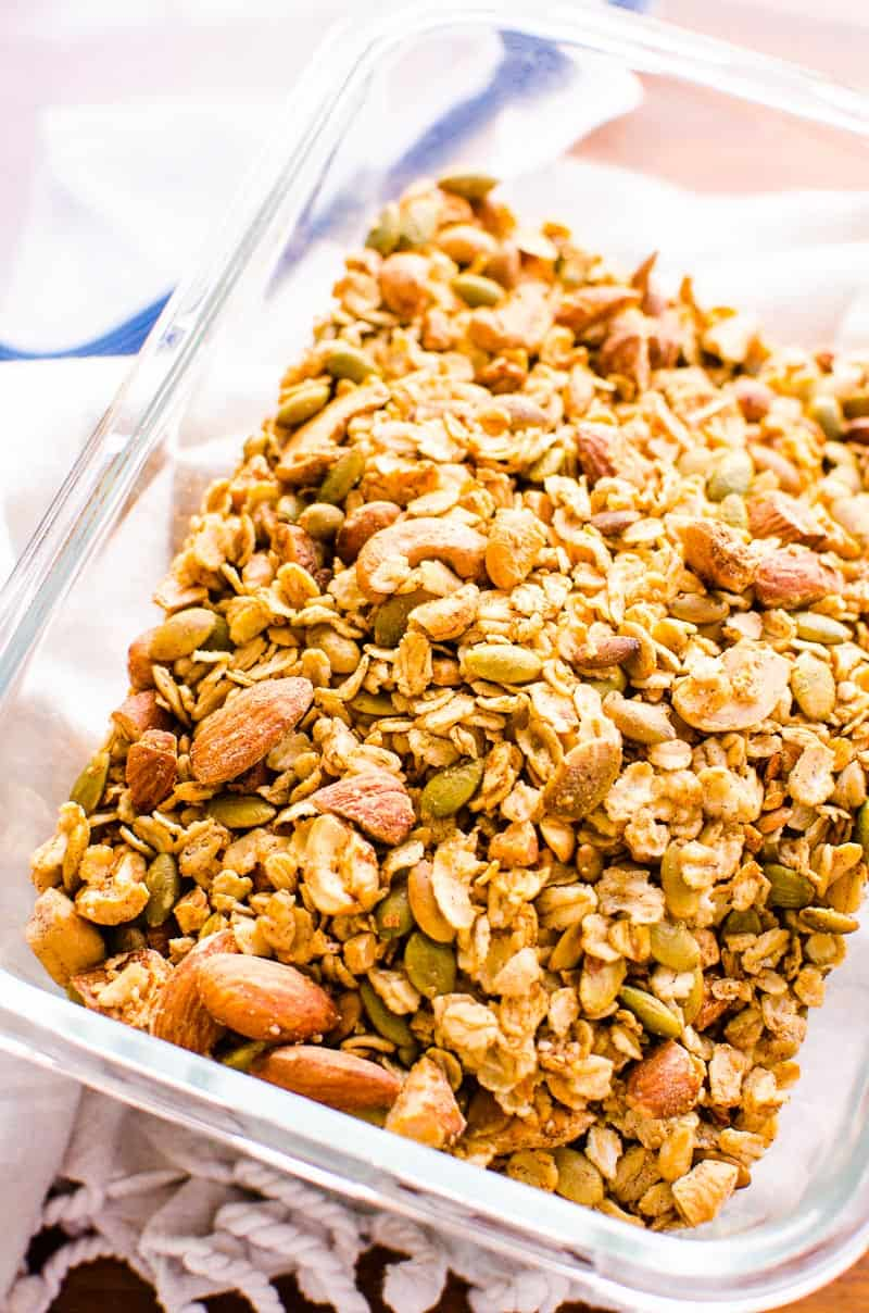 Healthy Granola in glass container