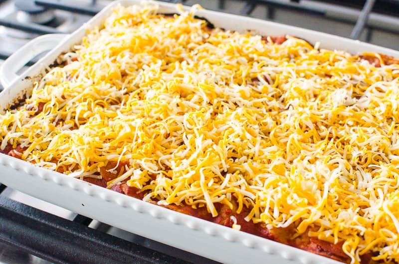 Healthy Mexican Casserole with shredded cheese on top