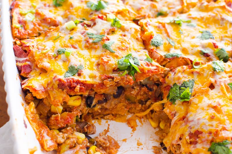 Healthy Mexican Casserole sliced and garnished with cilantro