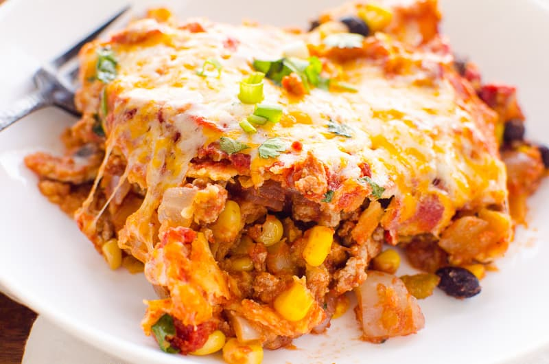 Healthy Mexican Casserole slice on white plate