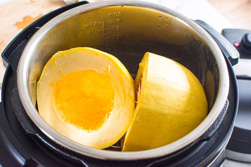 Spaghetti Squash halves in instant pot