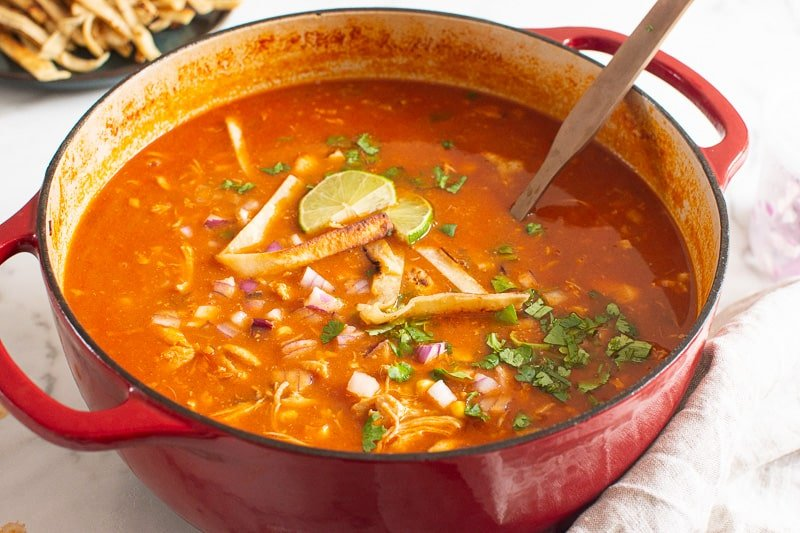 Chicken Tortilla Soup in red pot with ladle