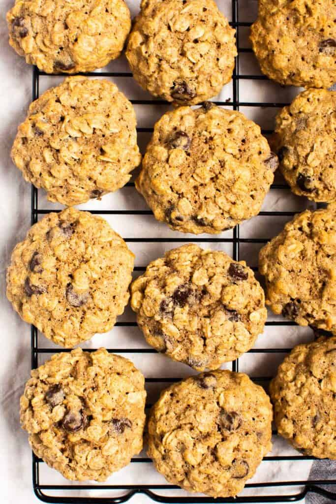 healthy oatmeal cookies on wire cooling rack