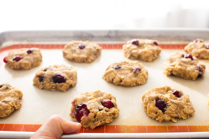 Oatmeal Cranberry Cookies on a baking sheet unbaked