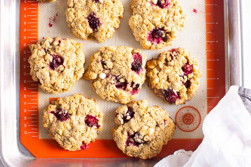 Oatmeal Cranberry Cookies on baking sheet