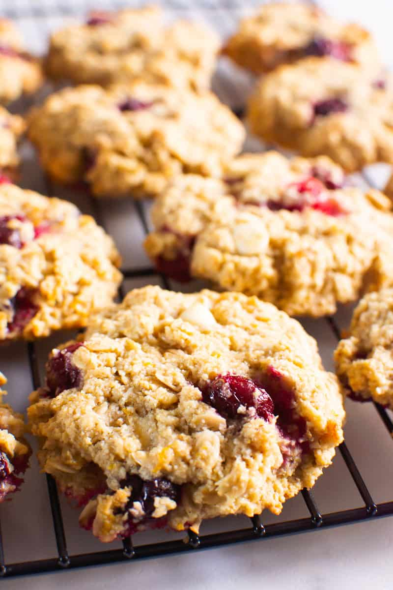 Oatmeal Cranberry Cookies on a cooling rack