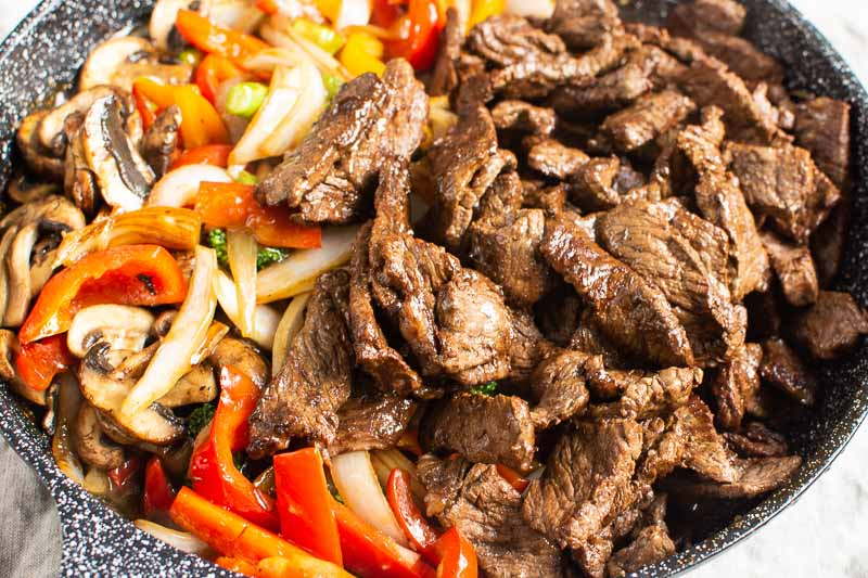 sauteed veggies and beef for stir fry